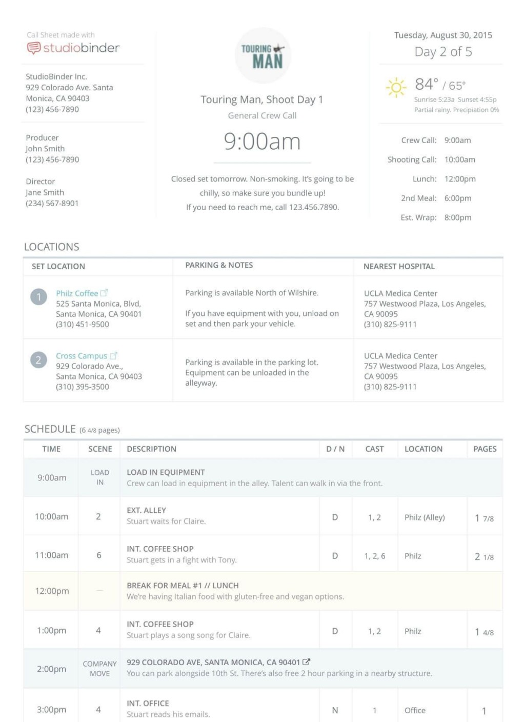 009 Stirring Film Call Sheet Template Image  Movie Excel Example Google DocLarge
