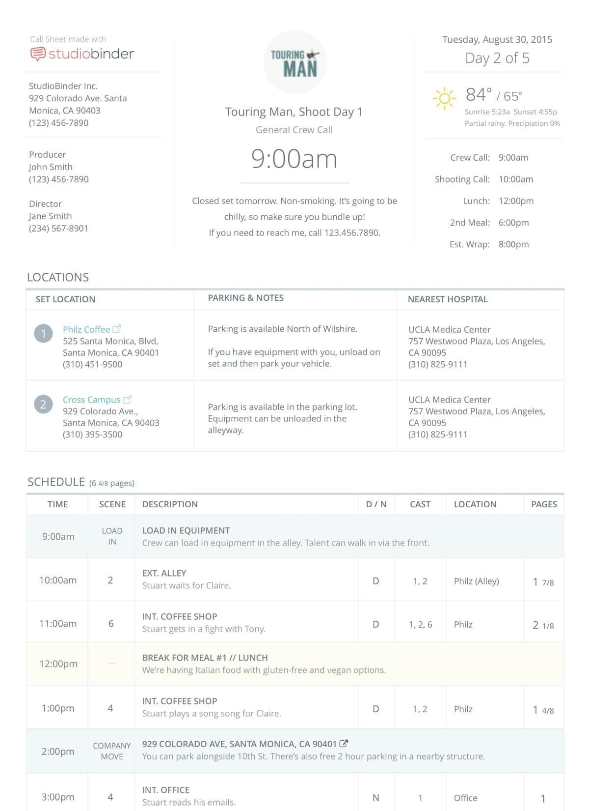 009 Stirring Film Call Sheet Template Image  Movie Excel Example Google DocFull