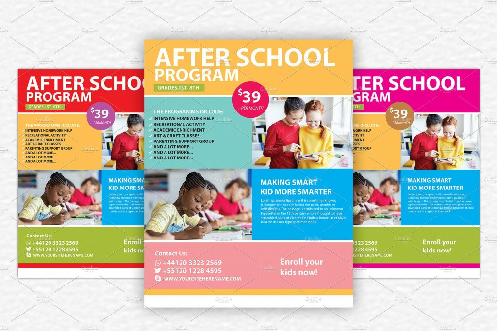 009 Stirring Free After School Flyer Template Picture  TemplatesLarge
