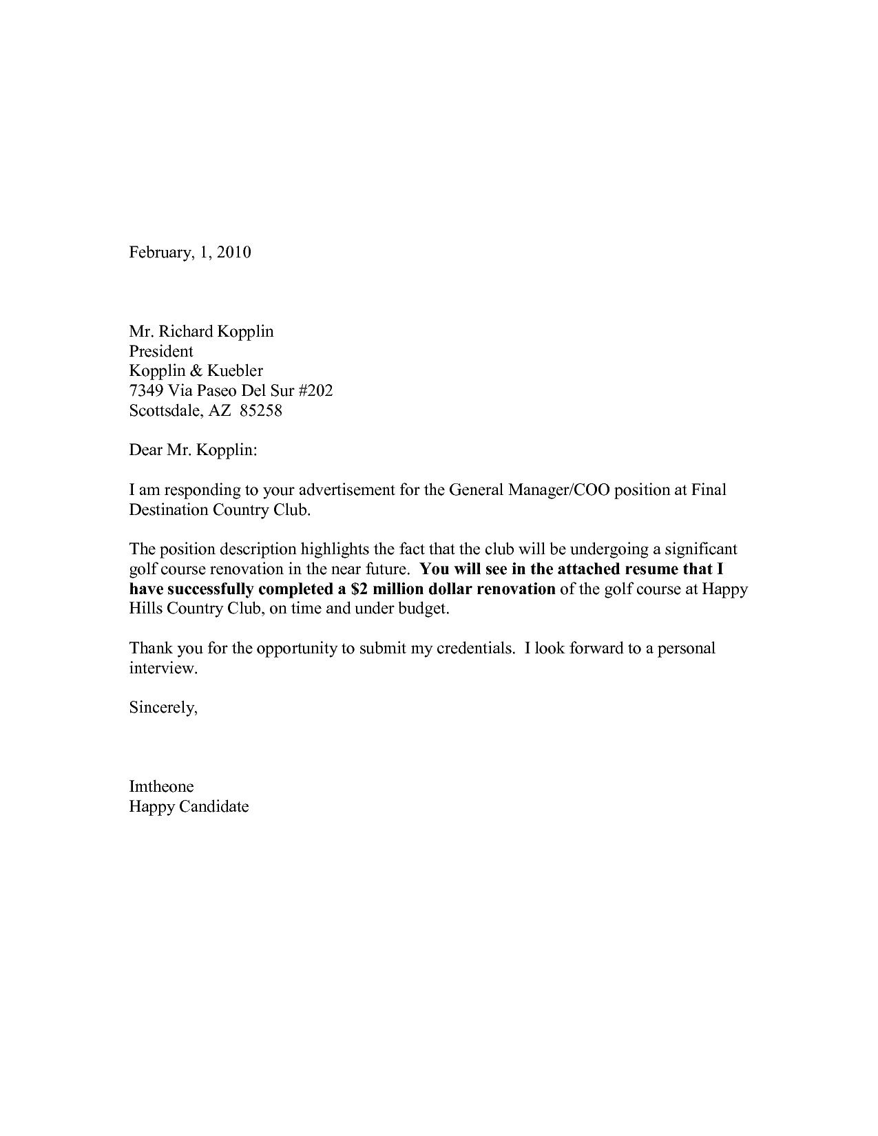 General Resume Cover Letter Template Addictionary