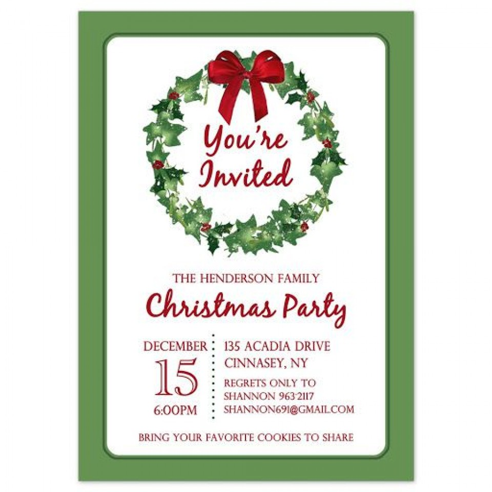 009 Stirring Holiday Party Invitation Template Free Inspiration  Elegant Christma Download Dinner Printable Australia960
