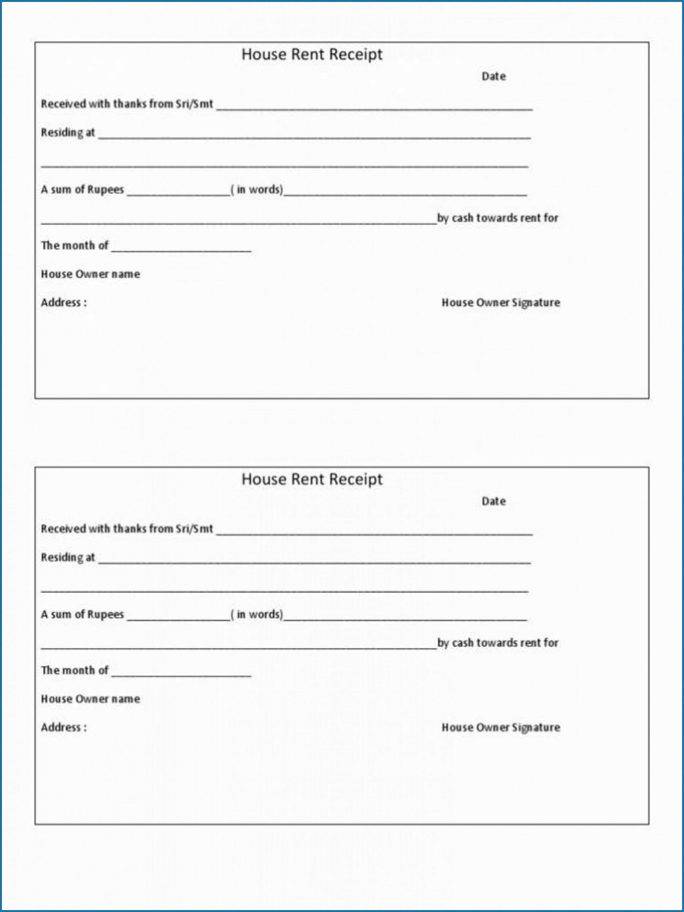009 Stirring House Rent Receipt Sample Doc Design  Format Download Bill Template India1400