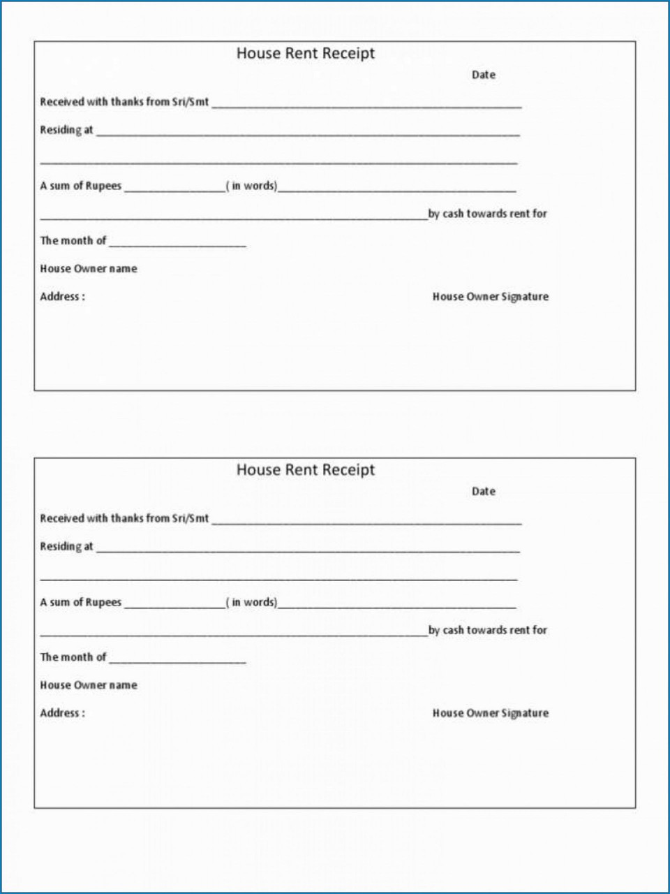 009 Stirring House Rent Receipt Sample Doc Design  Format Download Bill Template India960