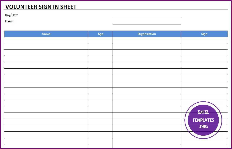 009 Stirring Printable Volunteer Sign Up Sheet Template Sample Full
