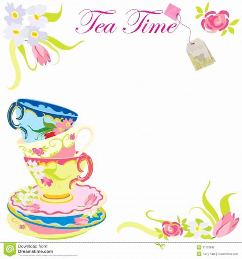 009 Stirring Tea Party Invitation Template Sample  Wording Vintage Free480
