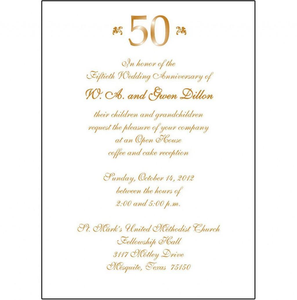 009 Striking 50th Wedding Anniversary Invitation Template Microsoft Word Design  FreeLarge