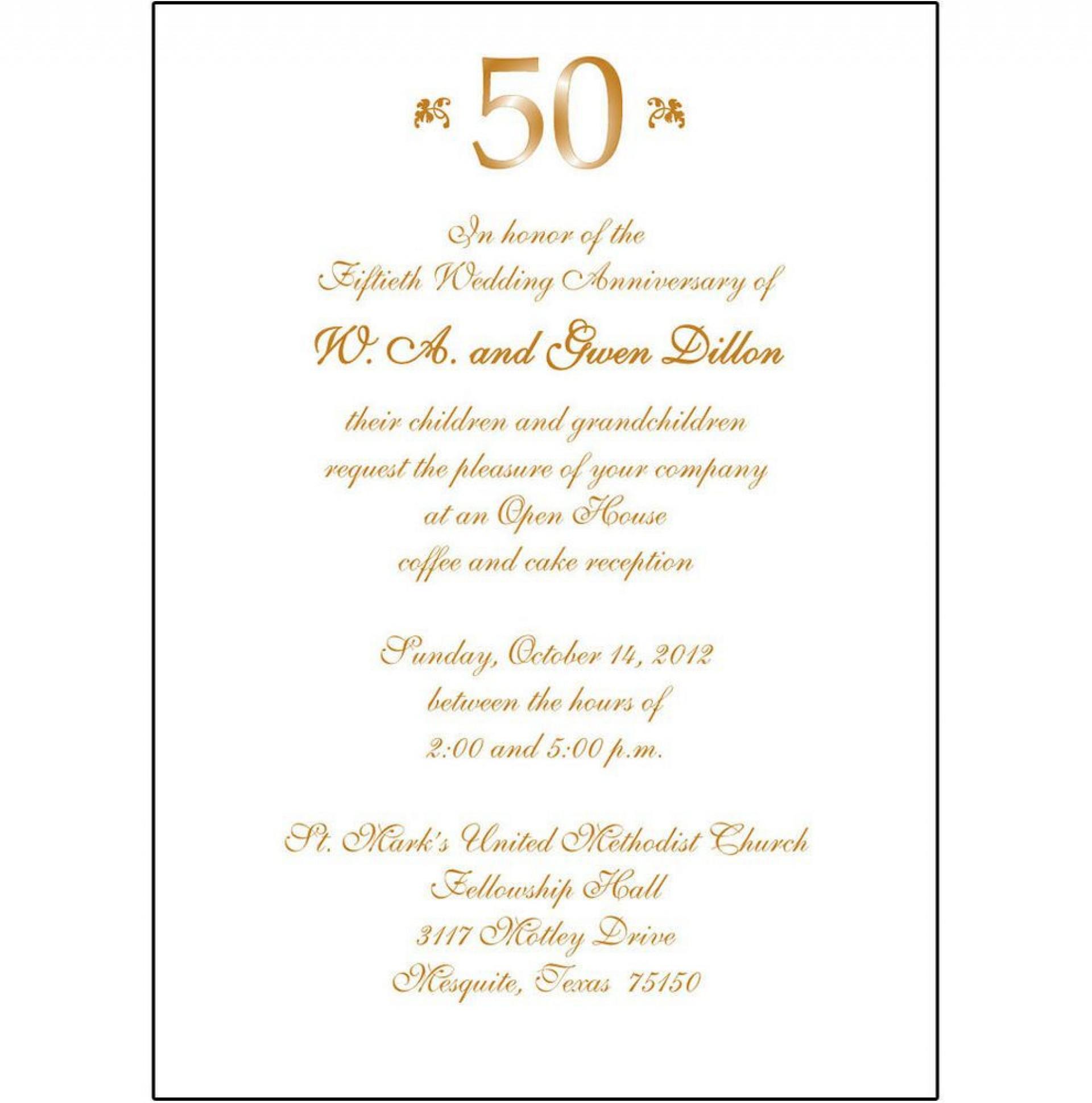 009 Striking 50th Wedding Anniversary Invitation Template Microsoft Word Design  Free1920