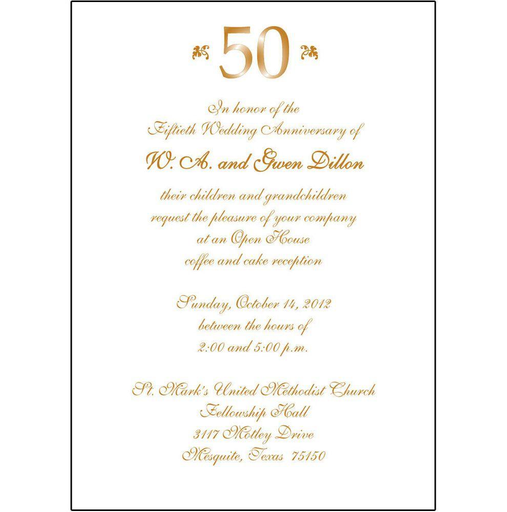009 Striking 50th Wedding Anniversary Invitation Template Microsoft Word Design  FreeFull