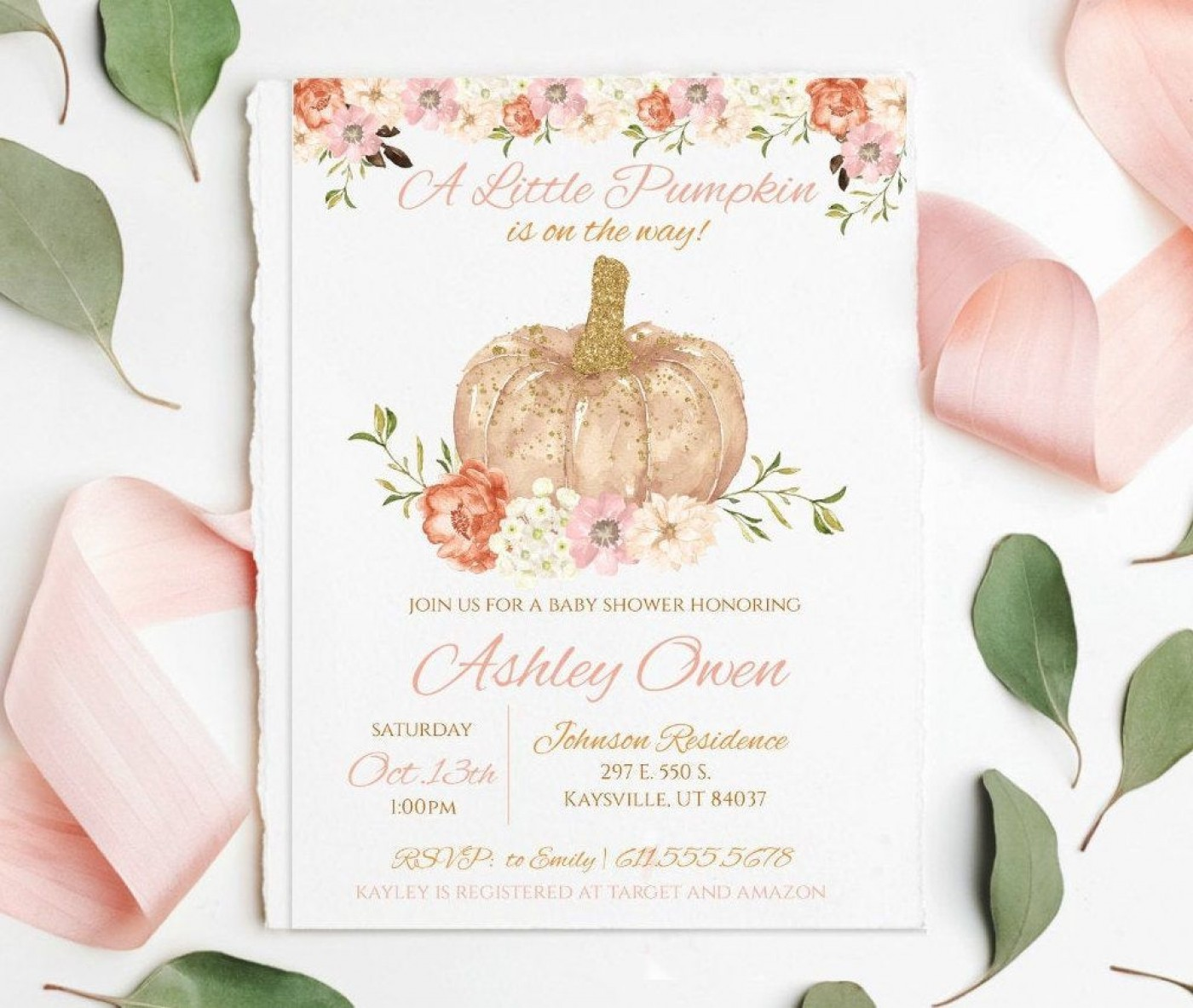009 Striking Baby Shower Invitation Girl Pumpkin High Resolution  Little1400