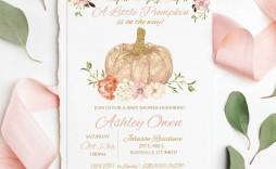 009 Striking Baby Shower Invitation Girl Pumpkin High Resolution  Pink Little