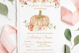 009 Striking Baby Shower Invitation Girl Pumpkin High Resolution  Little