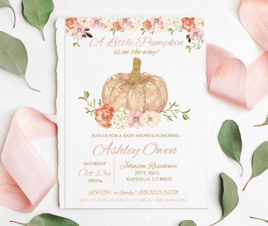 009 Striking Baby Shower Invitation Girl Pumpkin High Resolution  Pink Little868