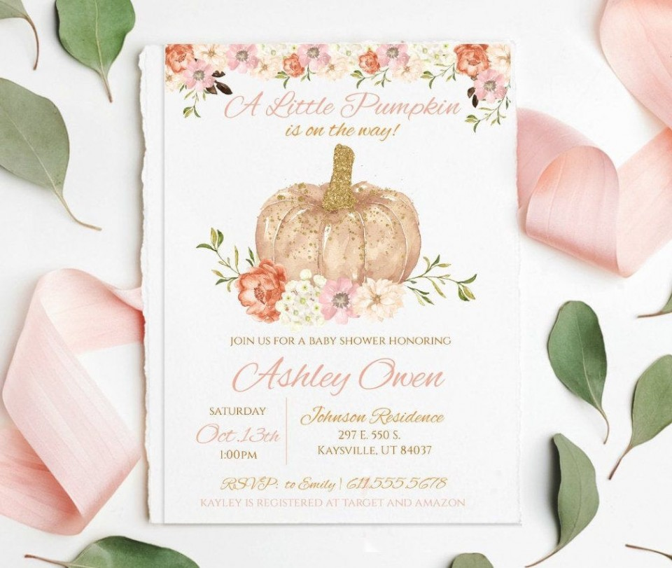 009 Striking Baby Shower Invitation Girl Pumpkin High Resolution  Pink Little960