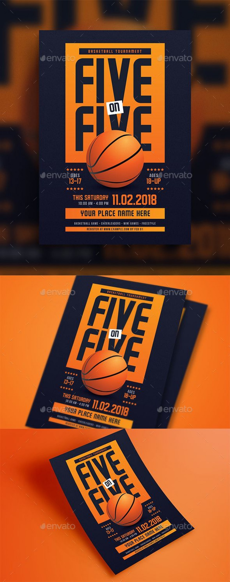 009 Striking Basketball Tournament Flyer Template Highest Quality  3 On Free960