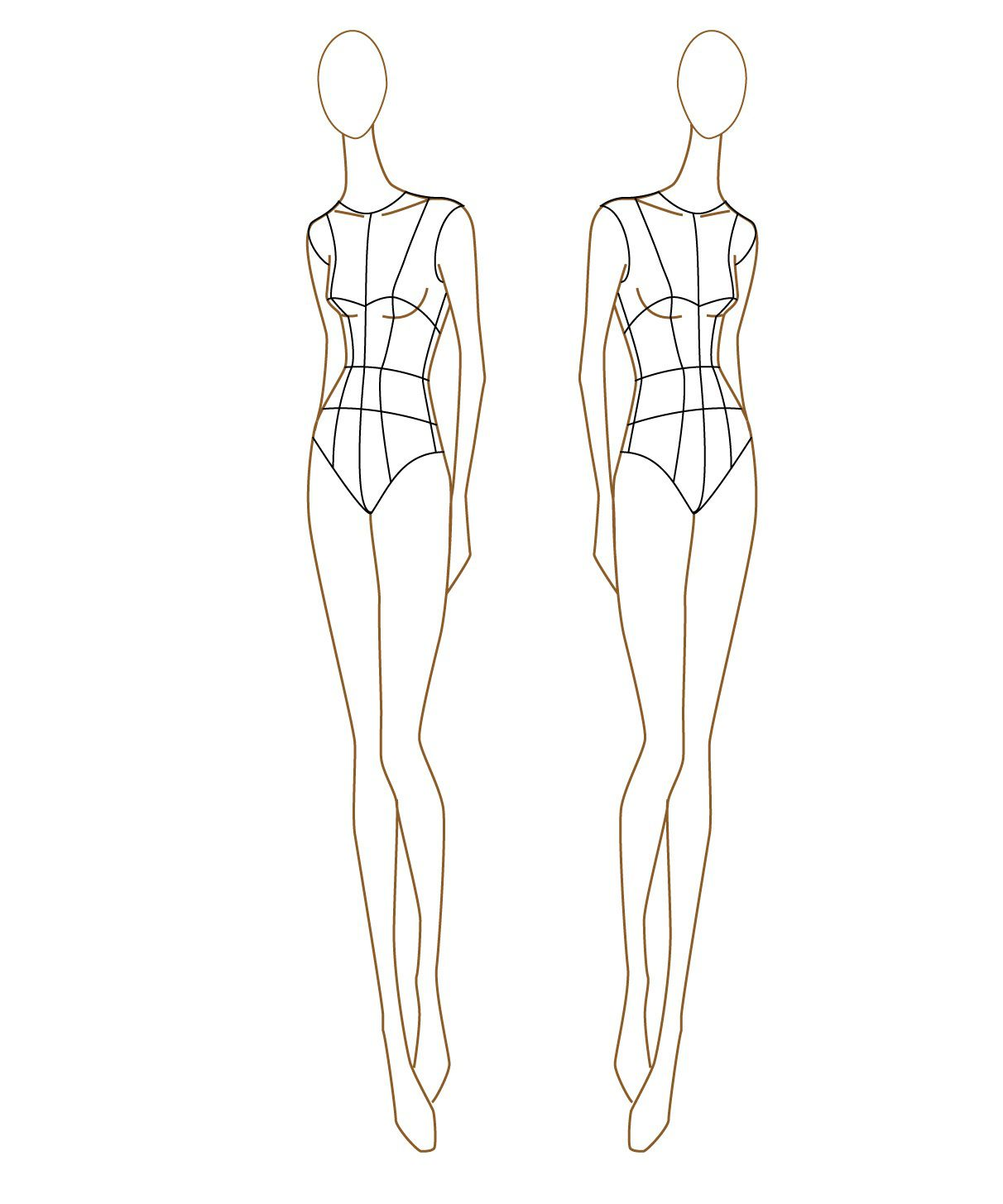009 Striking Body Template For Fashion Design Example  Female Male HumanFull