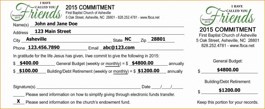 Donation Pledge Card Template Addictionary