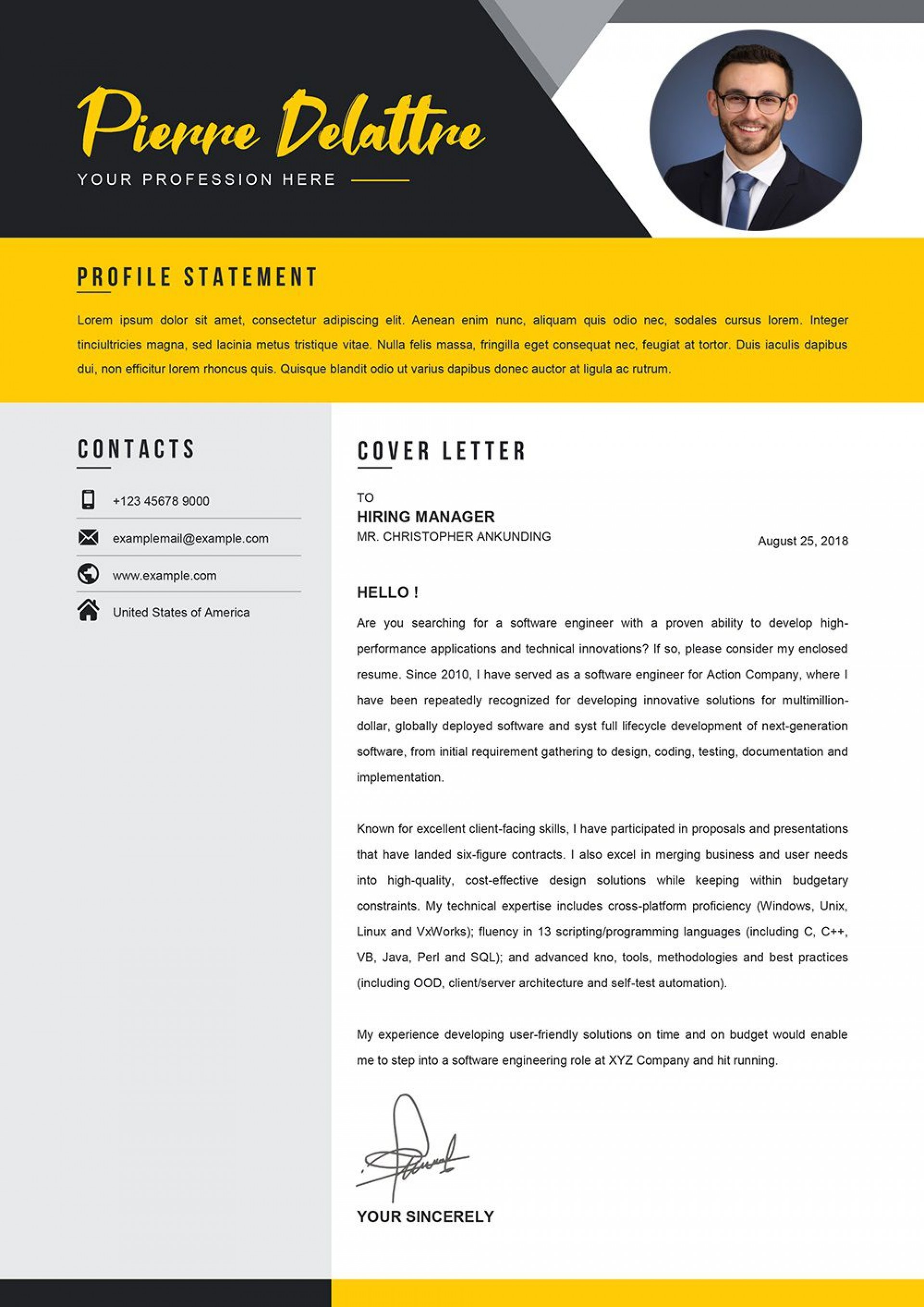 009 Striking Download Cv And Cover Letter Template Picture  Templates1920