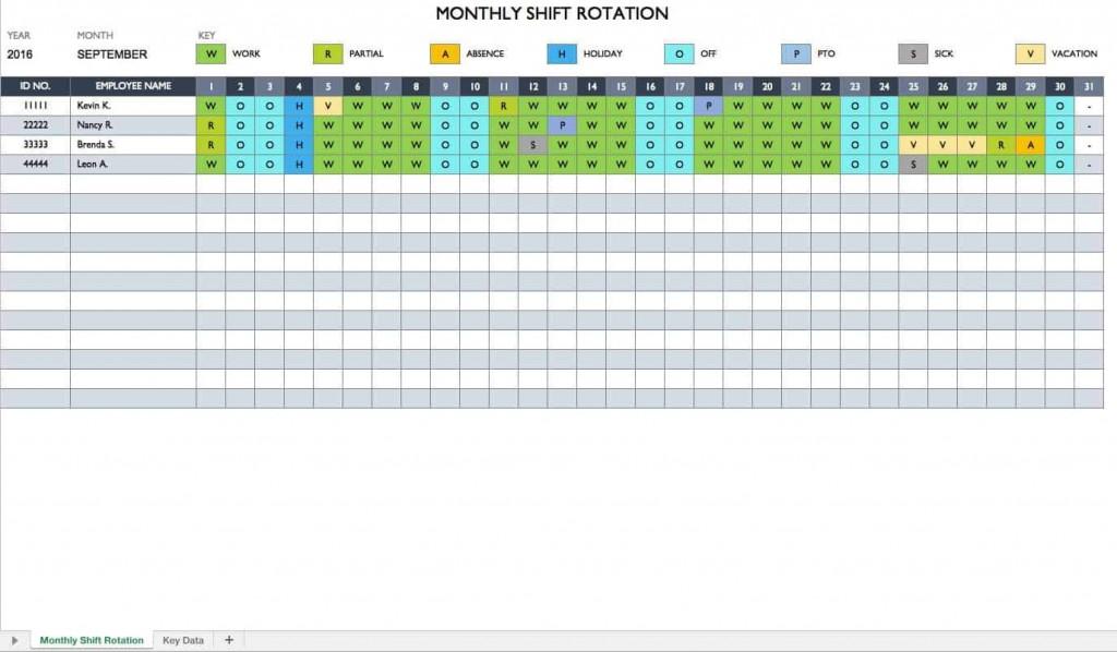 009 Striking Employee Calendar Template Excel High Def  Staff Leave Vacation PlannerLarge