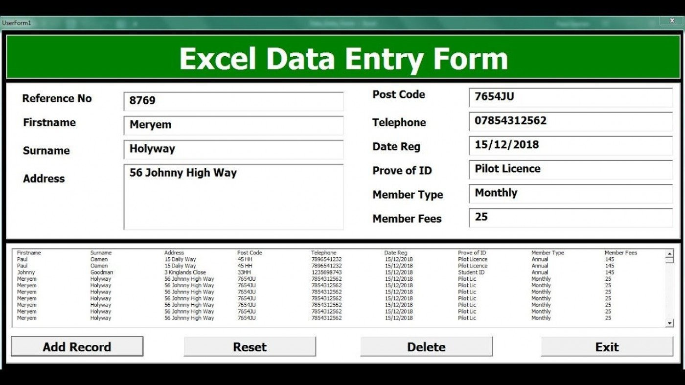 009 Striking Excel Data Entry Form Template Picture  Free Download Example Pdf1400
