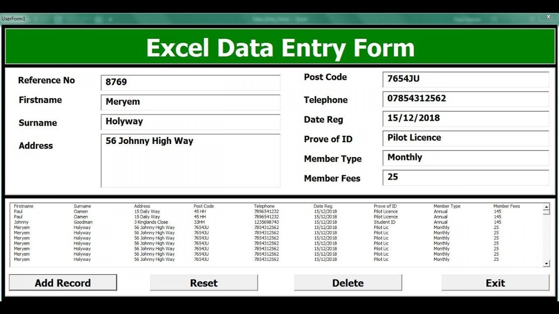 009 Striking Excel Data Entry Form Template Picture  Example Download Free1920