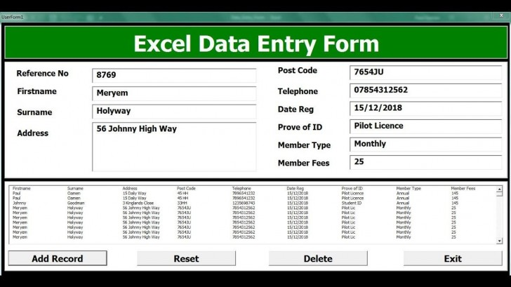 009 Striking Excel Data Entry Form Template Picture  Free Download Example Pdf728