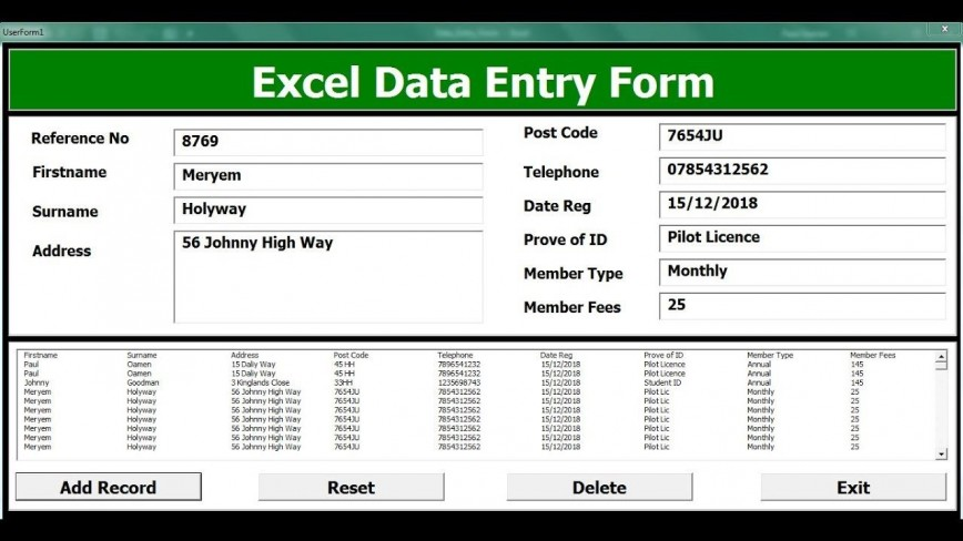 009 Striking Excel Data Entry Form Template Picture  Free Download Example Pdf868