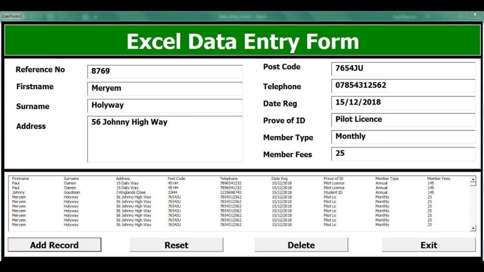 009 Striking Excel Data Entry Form Template Picture  Free Download Example Pdf960