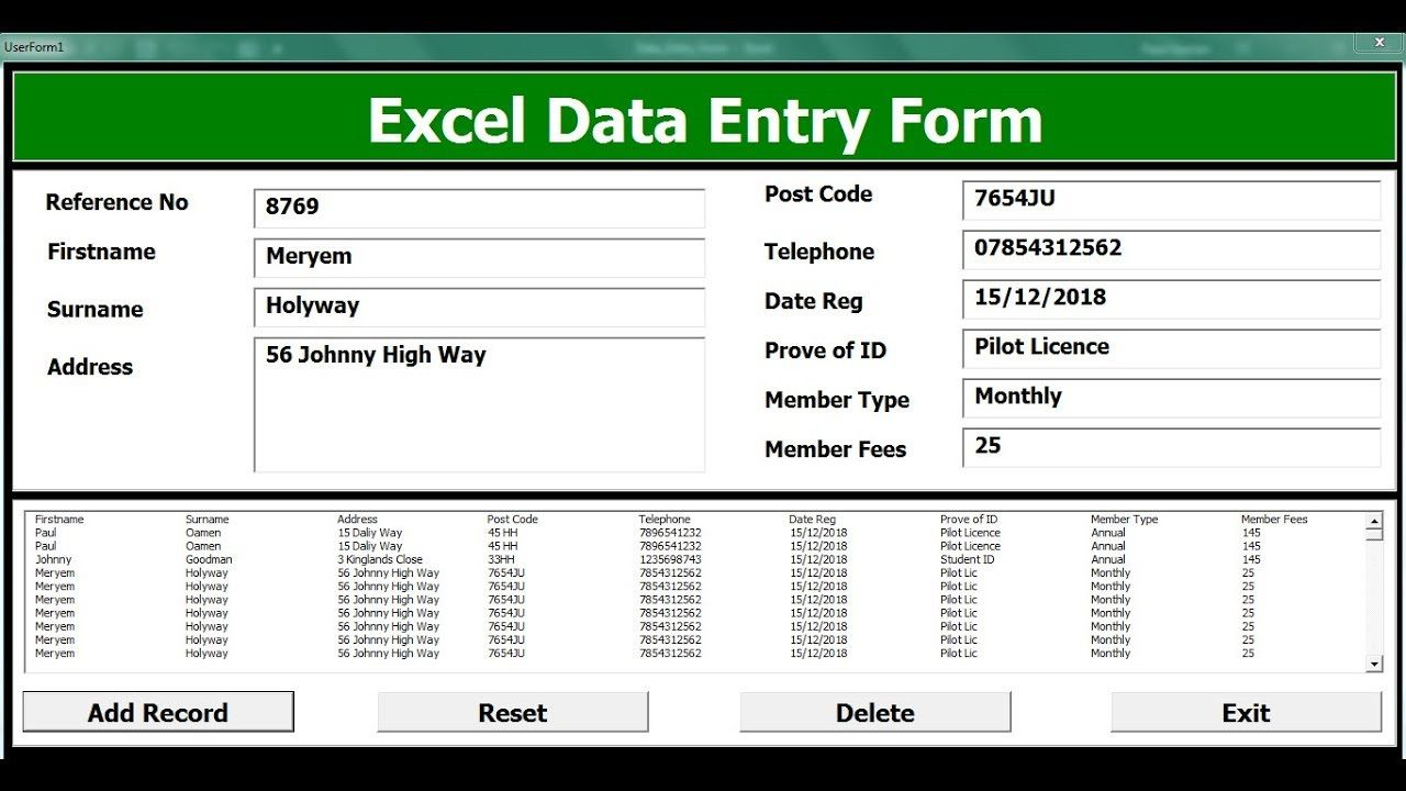 009 Striking Excel Data Entry Form Template Picture  Example Download FreeFull