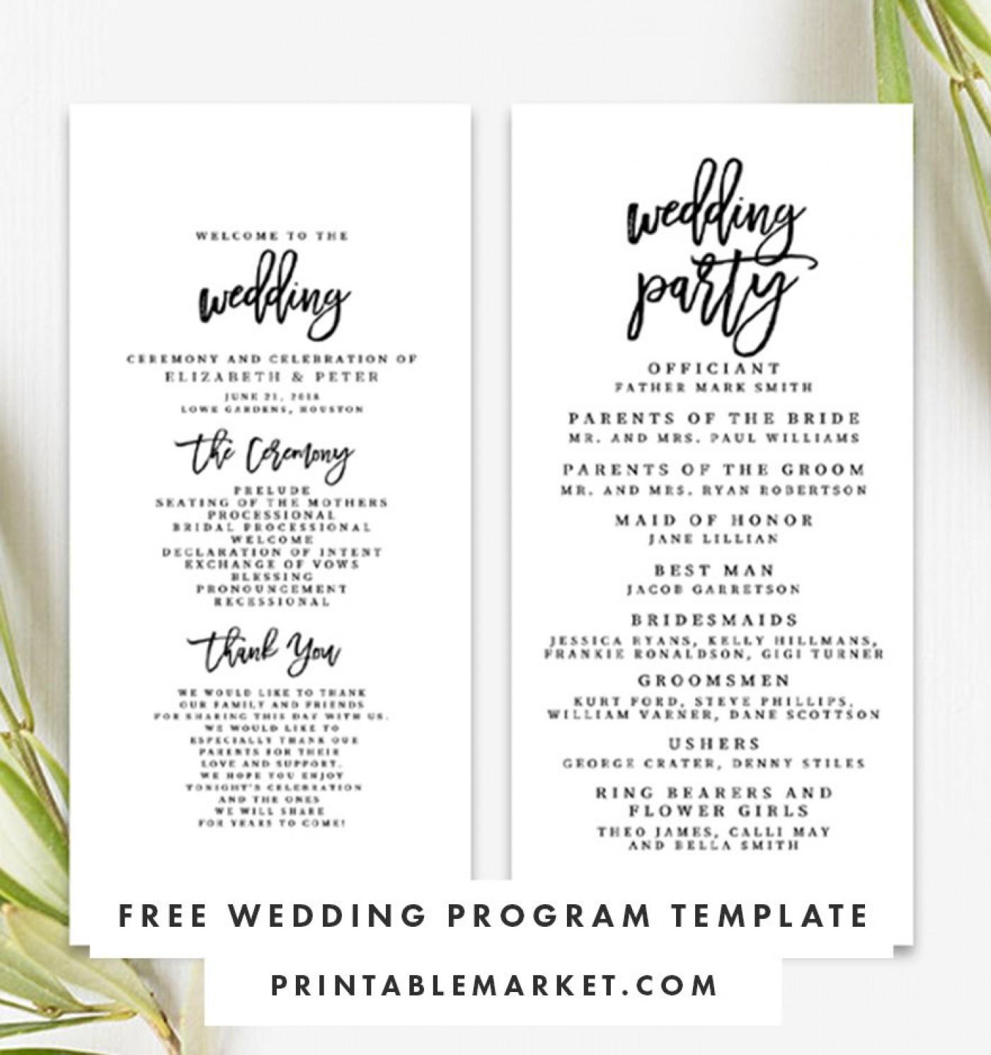 009 Striking Free Template For Wedding Ceremony Program Highest Quality 1400
