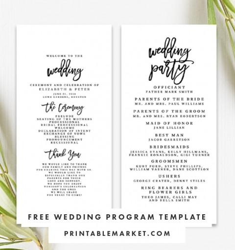 009 Striking Free Template For Wedding Ceremony Program Highest Quality 480