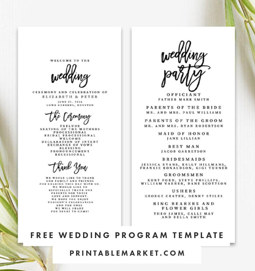 009 Striking Free Template For Wedding Ceremony Program Highest Quality Full