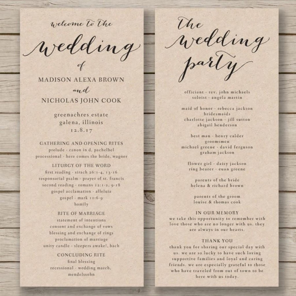 009 Striking Free Word Template For Wedding Program Highest Quality  ProgramsLarge