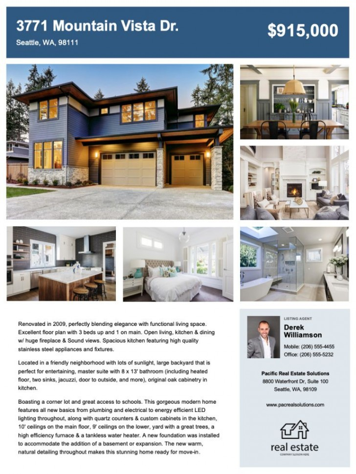 009 Striking House For Sale Flyer Template Inspiration  Free Real Estate Example By Owner728