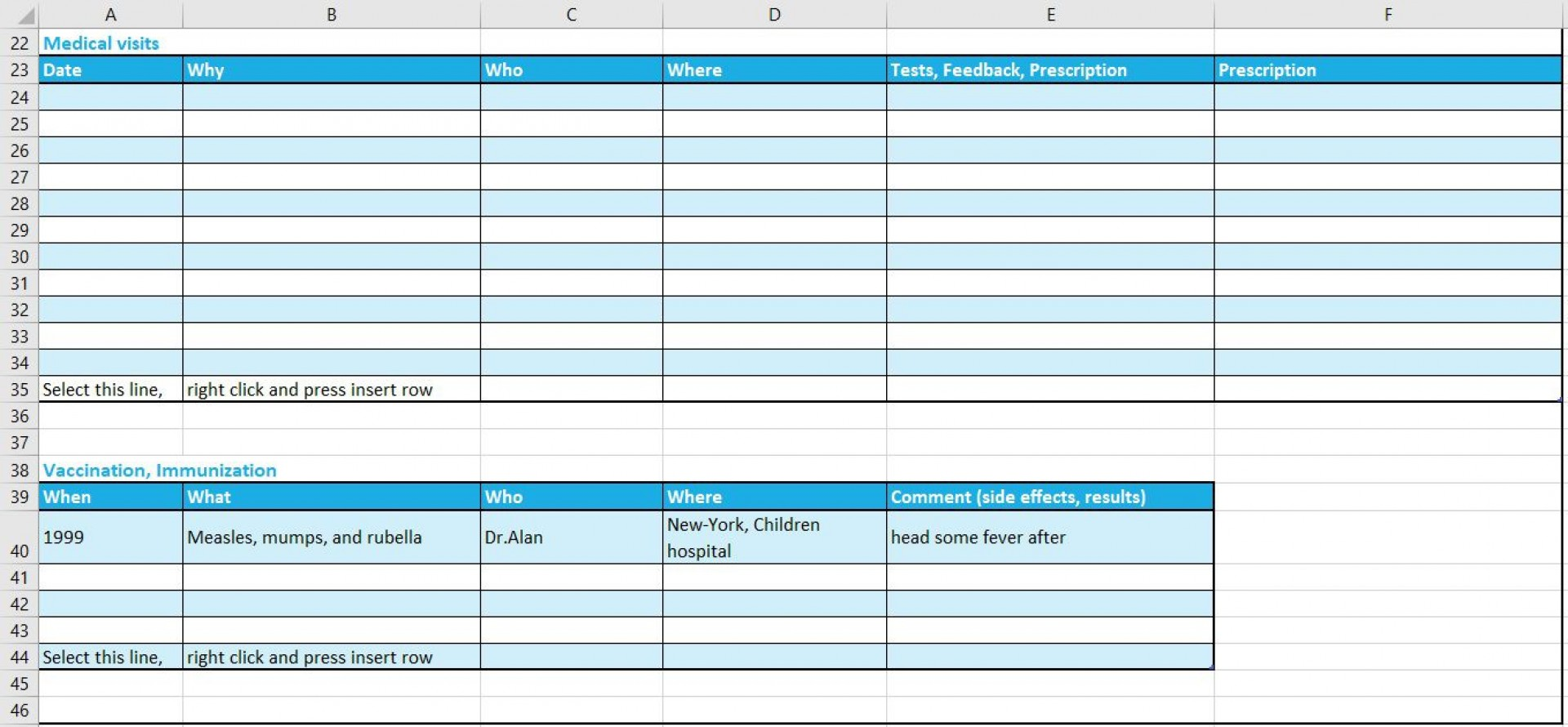Personal Medical Record Template Addictionary