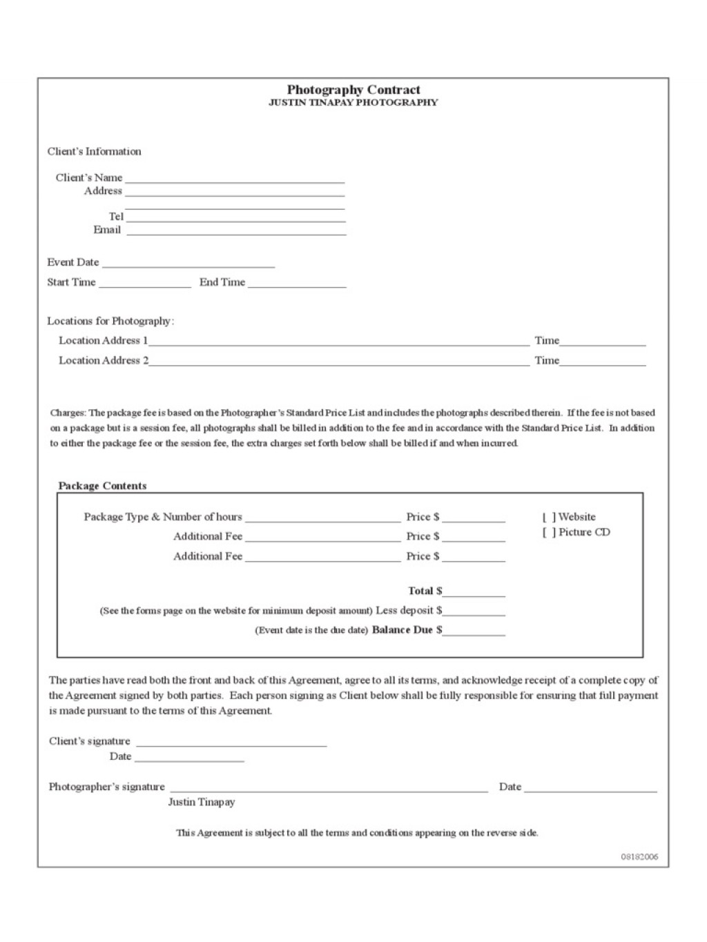 009 Striking Photography Contract Template Pdf Highest Quality  Free PortraitLarge