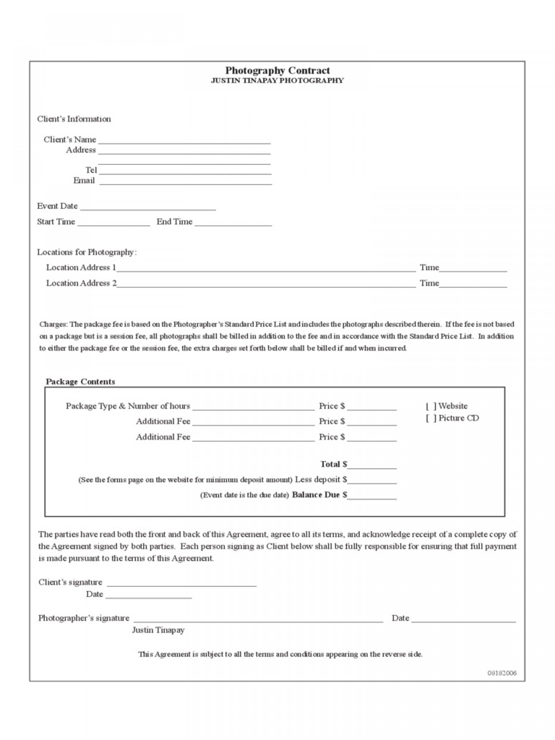 009 Striking Photography Contract Template Pdf Highest Quality  Free Portrait1920