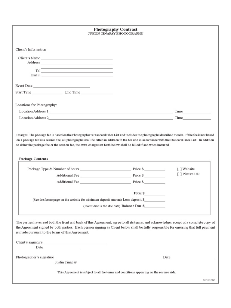 009 Striking Photography Contract Template Pdf Highest Quality  Free PortraitFull