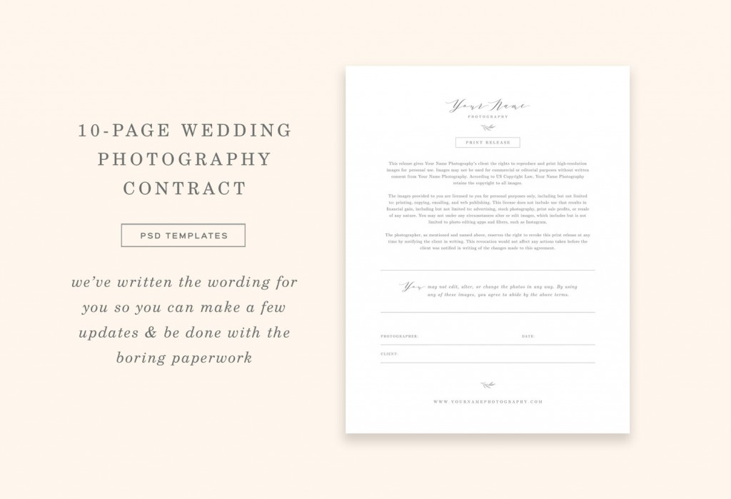 009 Striking Portrait Photography Contract Template Sample  Pdf AustraliaLarge