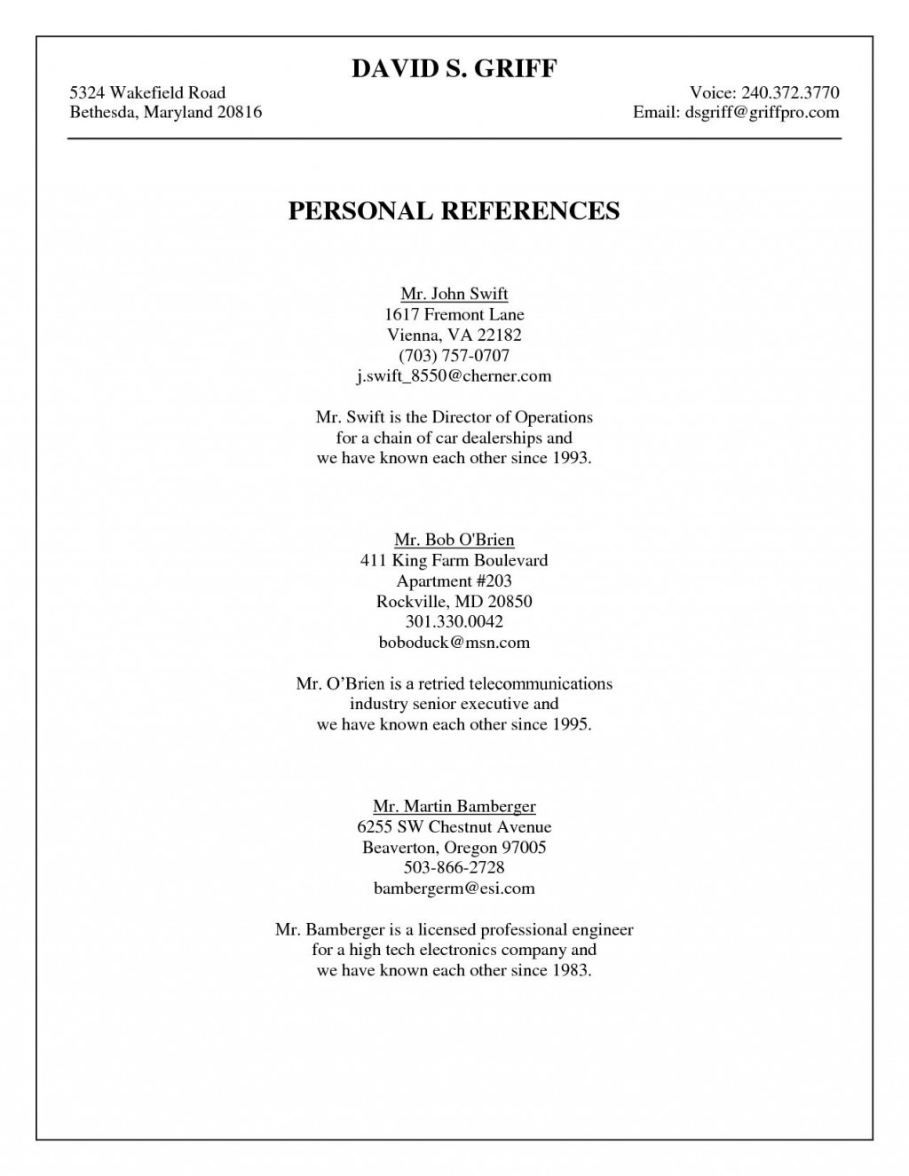 009 Striking Professional Reference List Template Word High Resolution  FreeLarge