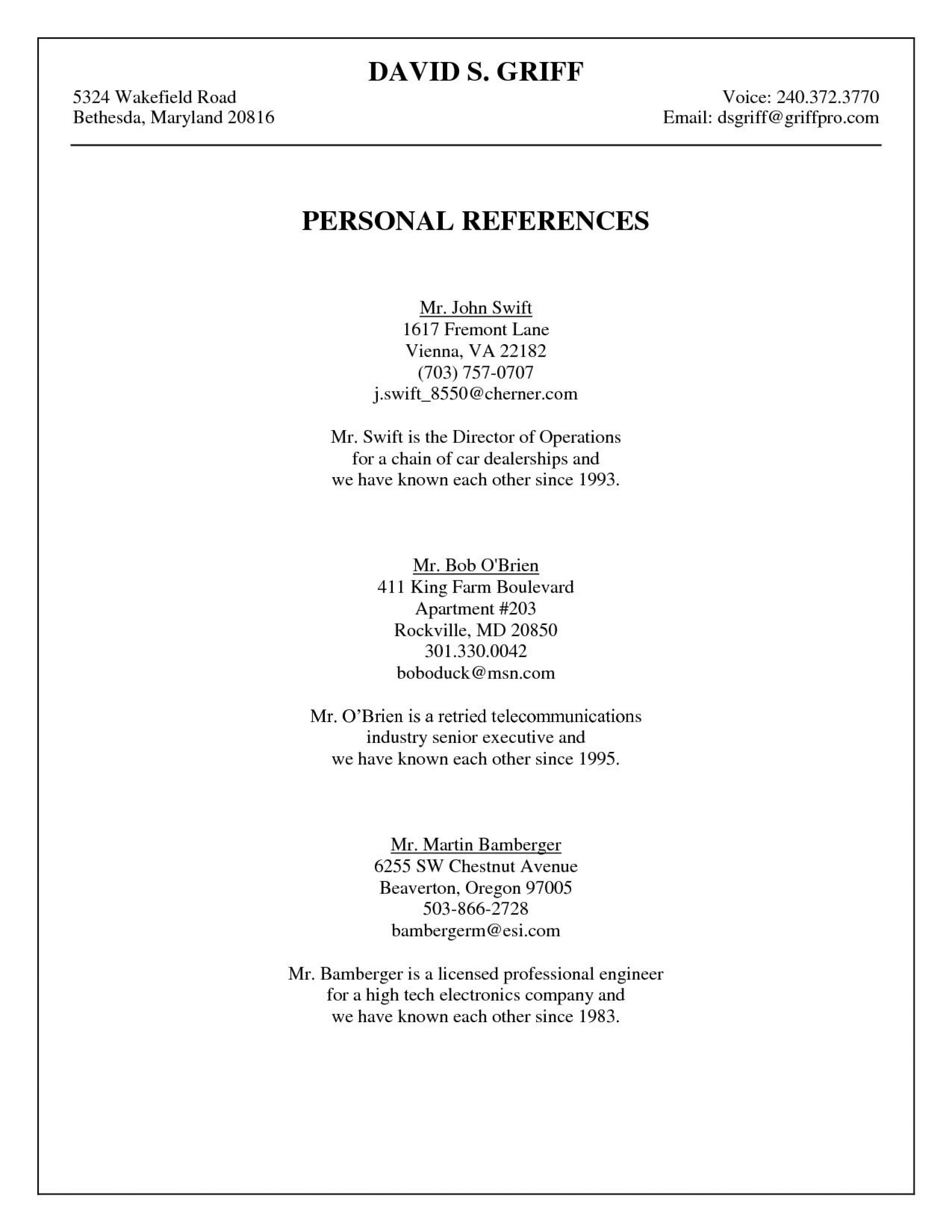 009 Striking Professional Reference List Template Word High Resolution  Free1920