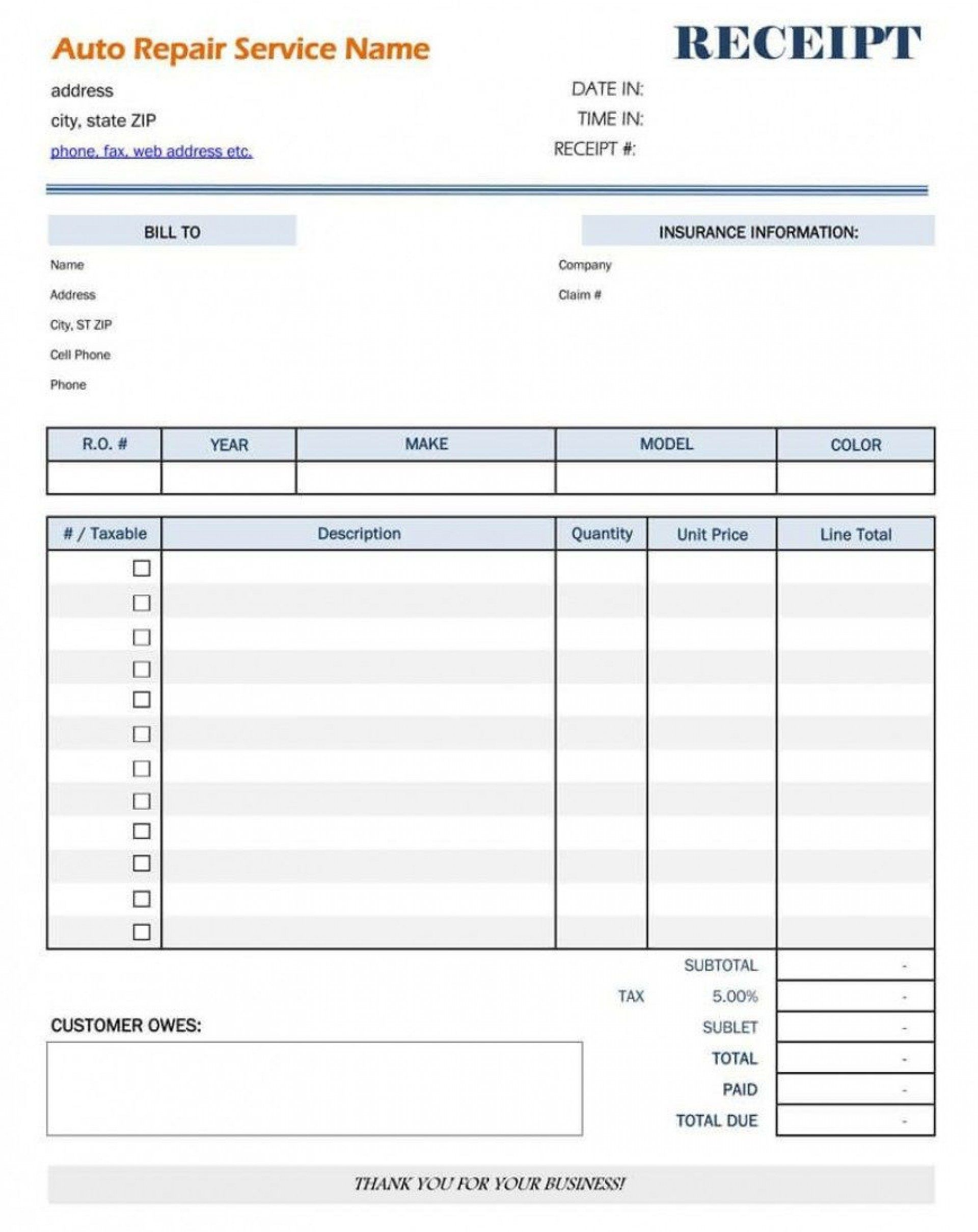 009 Stunning Auto Repair Invoice Template Excel Highest Quality Full