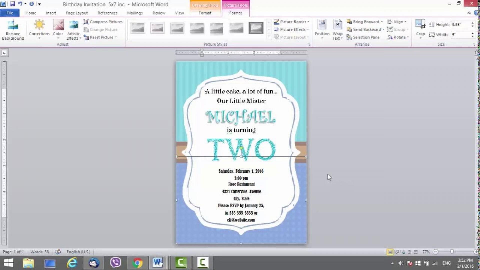 009 Stunning Birthday Invitation Card Word Format Highest Clarity  Template Free1920