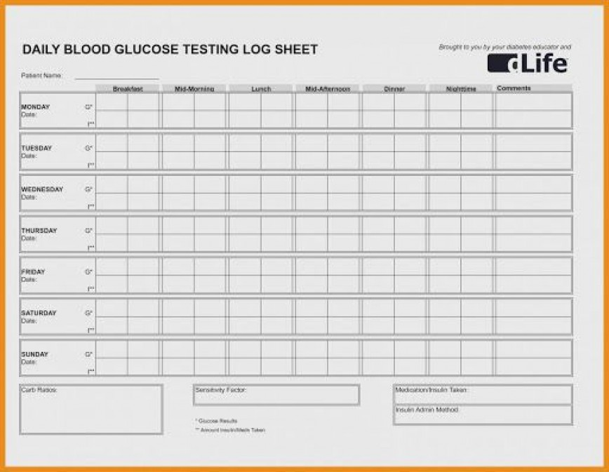 009 Stunning Blood Glucose Tracker Template High Resolution  Spreadsheet Tracking868