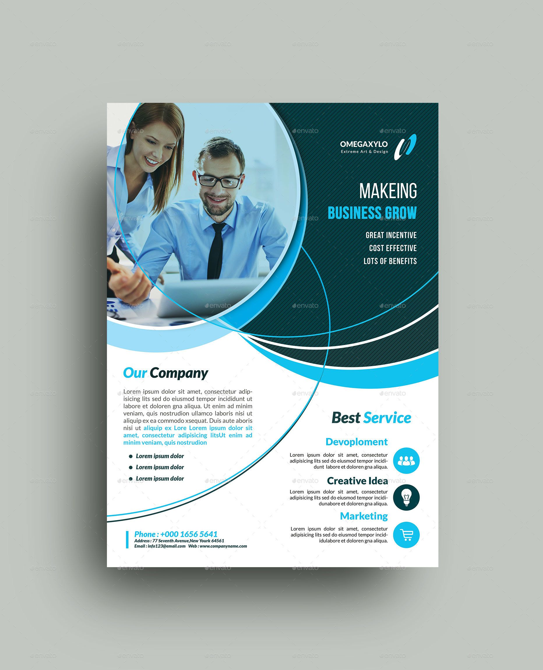 009 Stunning Busines Flyer Template Free Download Sample Full