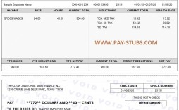 009 Stunning Employee Pay Stub Template Design  Employment Payroll Free Excel