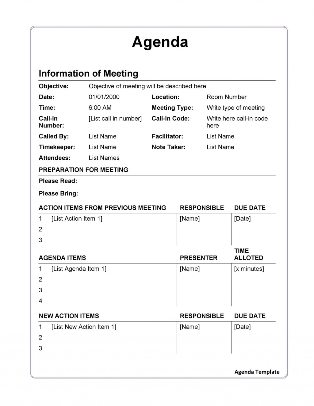 009 Stunning Formal Meeting Agenda Template Design  Board Example PdfLarge
