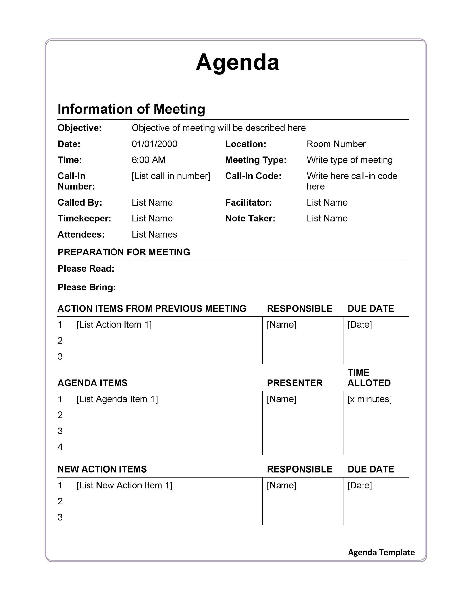 009 Stunning Formal Meeting Agenda Template Design  Board Example PdfFull
