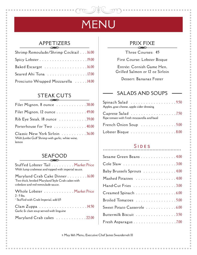 009 Stunning Free Printable Menu Template Concept  For Dinner Party FamilyFull