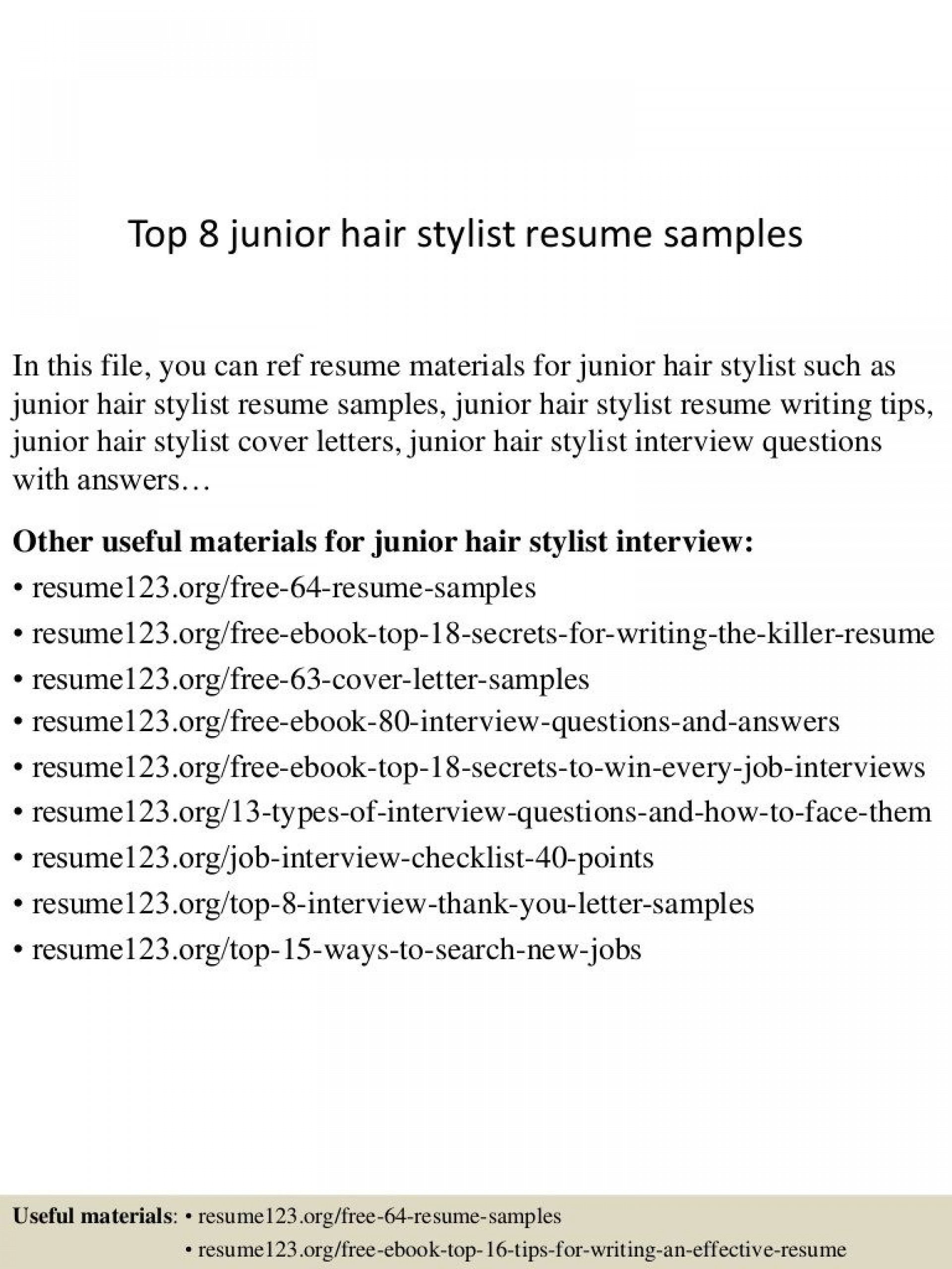 009 Stunning Hair Stylist Resume Template Sample  Word Free Download1920