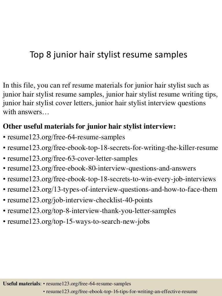 009 Stunning Hair Stylist Resume Template Sample  Word Free DownloadFull